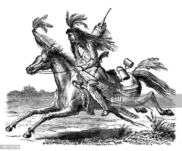 people and traditions of the world: sioux indians - sioux culture stock illustrations