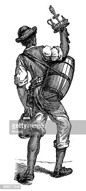 people and traditions of the world: water vendor in naples - naples italy stock illustrations