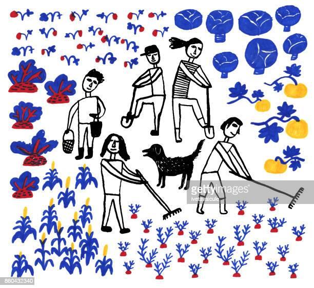 ilustrações, clipart, desenhos animados e ícones de pessoas e legumes - produto local