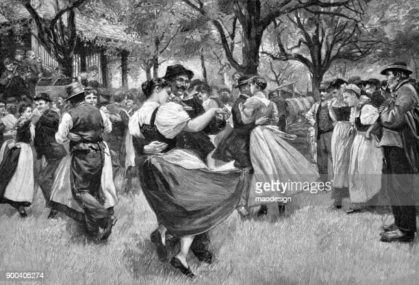 Les gens dansent lors d'un festival rural - 1896