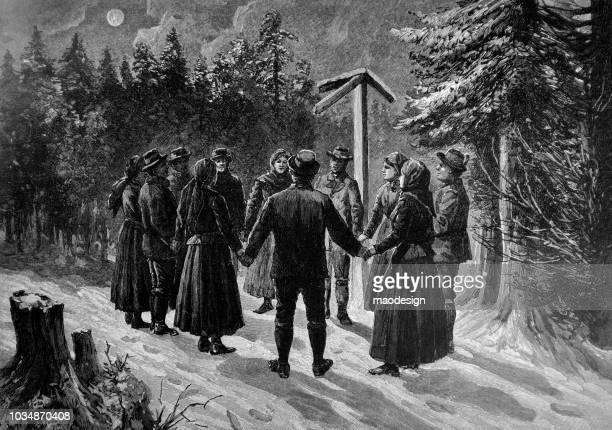 People are standing in a circle and holding hands. The scene from the Christmas time - 1895
