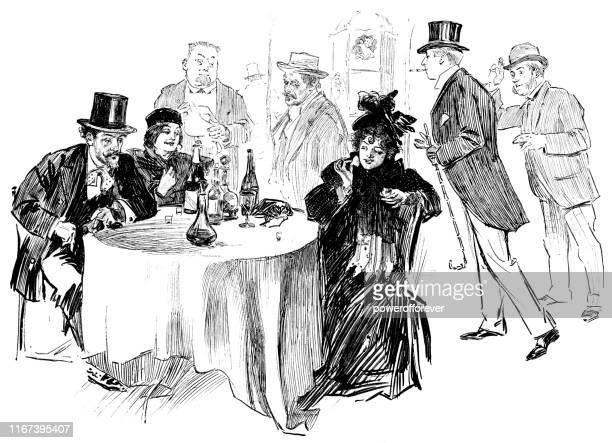 illustrations, cliparts, dessins animés et icônes de personnes à un café à paris, france - 19ème siècle - café établissement de restauration