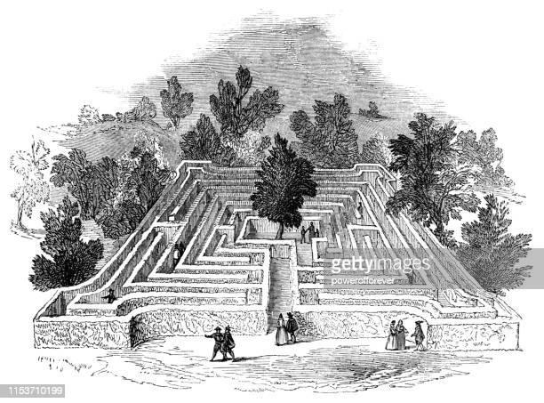 menschen in einem heckenlabyrinth - 17. jahrhundert - hecke stock-grafiken, -clipart, -cartoons und -symbole