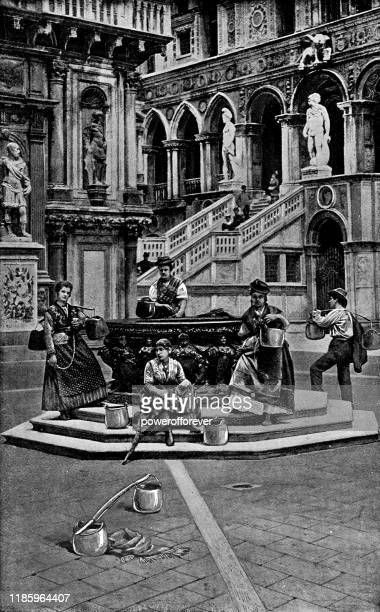 ilustrações de stock, clip art, desenhos animados e ícones de people at a wellhead in the courtyard of palazzo ducale in venice, italy - 19th century - onu