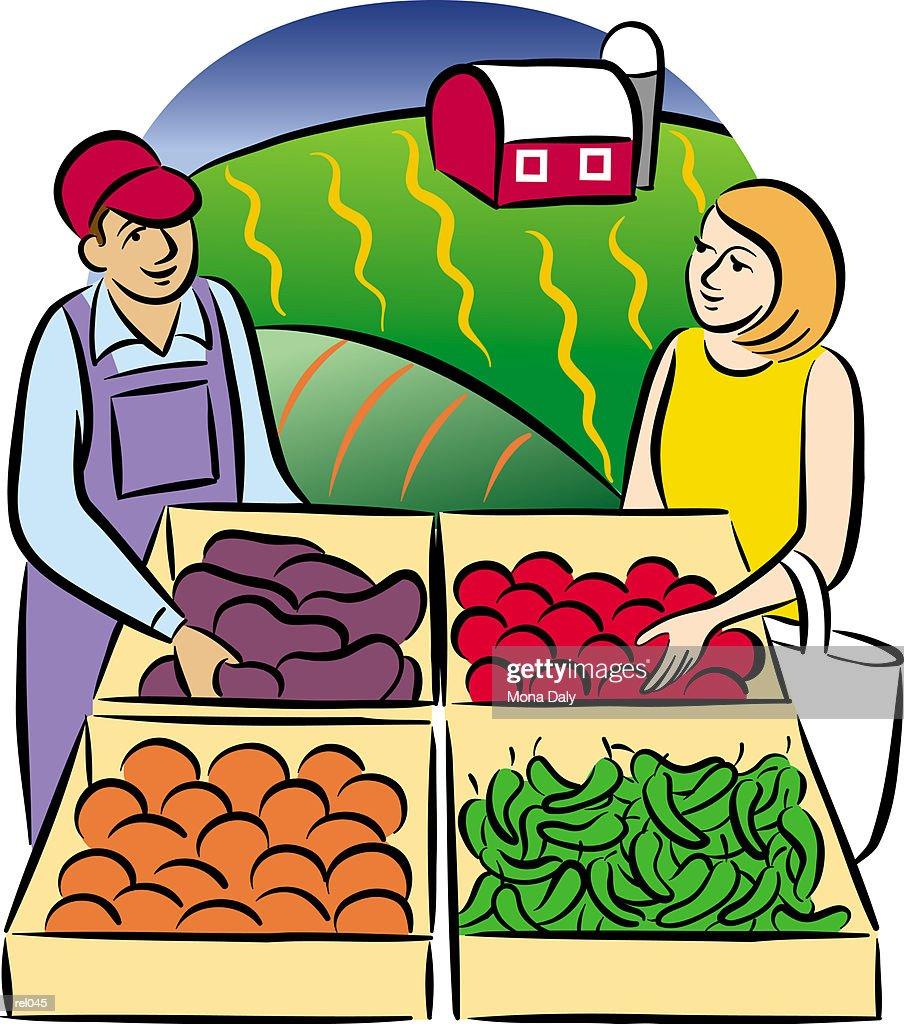 People at Farm Stand : Ilustração de stock