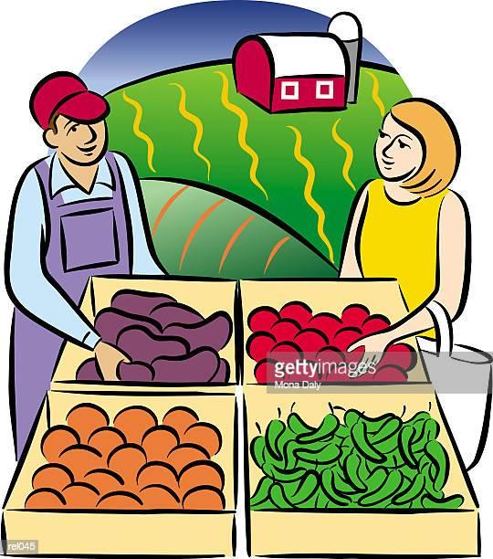 ilustraciones, imágenes clip art, dibujos animados e iconos de stock de people at farm stand - puesto de mercado