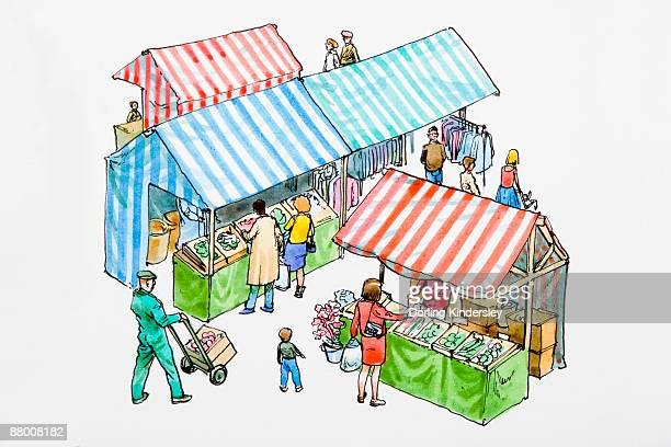 ilustraciones, imágenes clip art, dibujos animados e iconos de stock de people at outdoor market - puesto de mercado