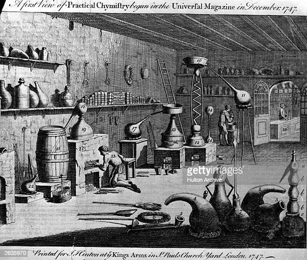 People at work in a chemistry laboratory Original Artwork Printed for J Hinton at the King's Arms in St Paul's Churchyard Yard 1747 Published in the...