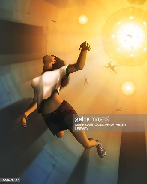 ilustraciones, imágenes clip art, dibujos animados e iconos de stock de people being abducted by a ufo - candida albicans