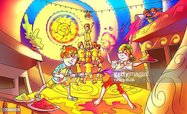 people celebrating holi festival - powder paint stock illustrations