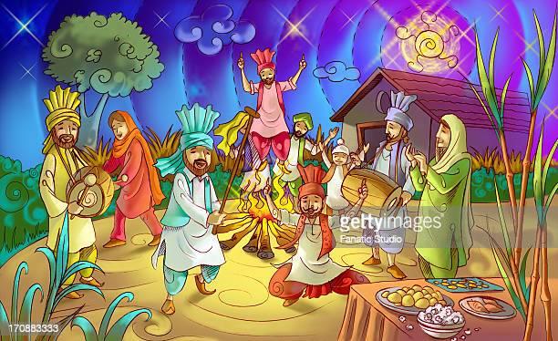 people celebrating lohri festival - lohri festival stock illustrations