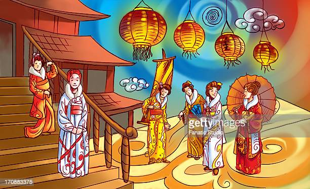 people celebrating seijin shiki festival, japan - 住宅団地 発祥の地点のイラスト素材/クリップアート素材/マンガ素材/アイコン素材