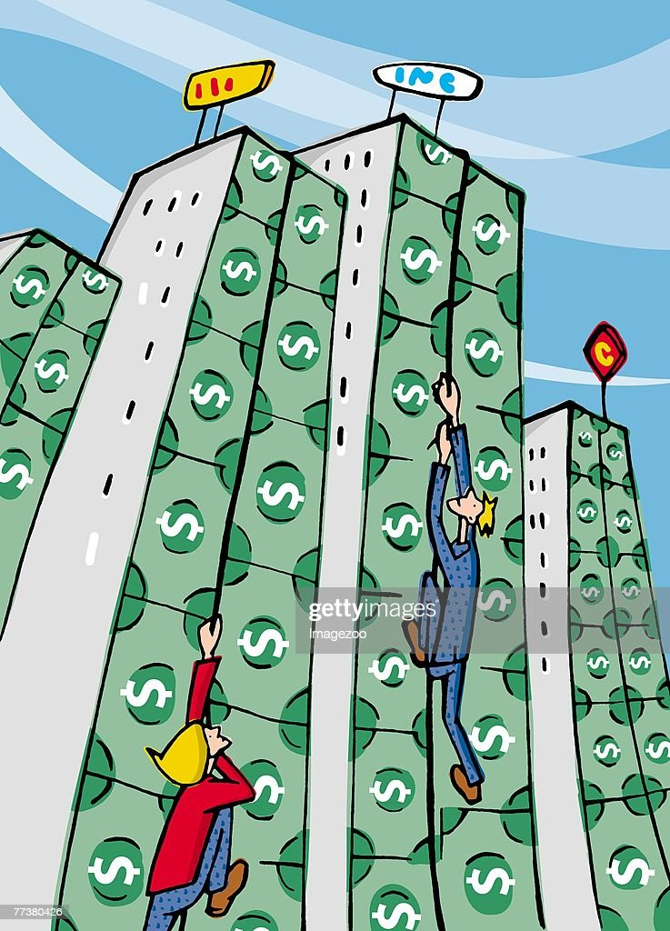 people climbing up high rises made out of money : Illustration