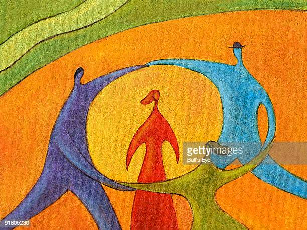 people dancing in a circle around a woman - surrounding stock illustrations, clip art, cartoons, & icons