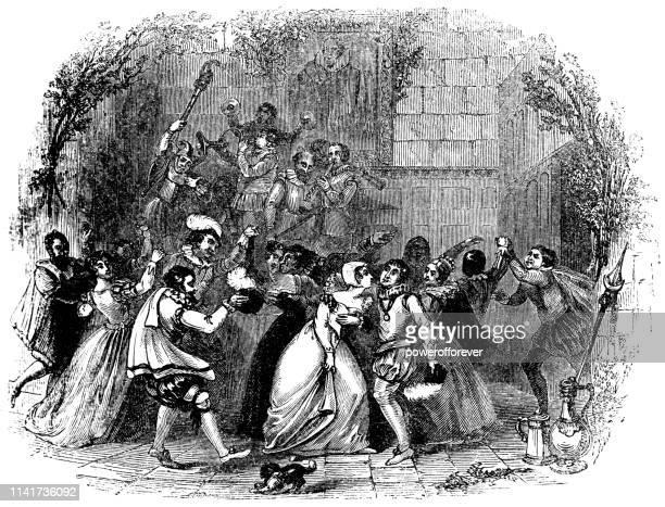people dancing the branle - 16th century - bran stock illustrations, clip art, cartoons, & icons