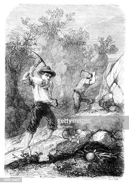 鉱山サンフランシスコカリフォルニアusa 1862で金を掘る人々 - 19世紀点のイラスト素材/クリップアート素材/マンガ素材/アイコン素材