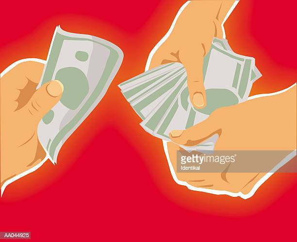 people exchanging cash, close-up - spending money stock illustrations, clip art, cartoons, & icons