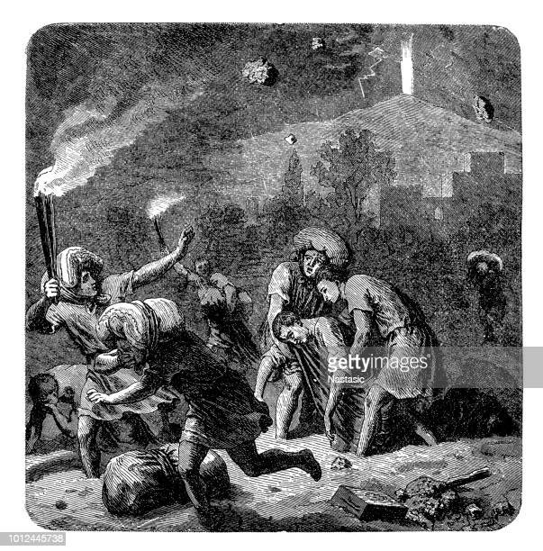 people flees from the burning troy - trojan war stock illustrations, clip art, cartoons, & icons