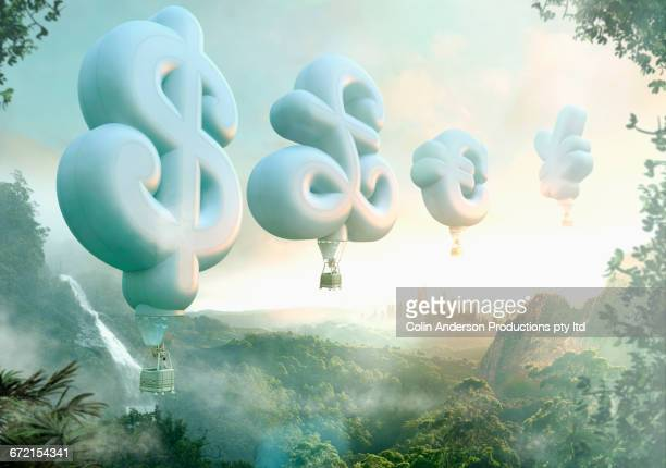 people floating in currency symbol hot air balloons - growth stock illustrations
