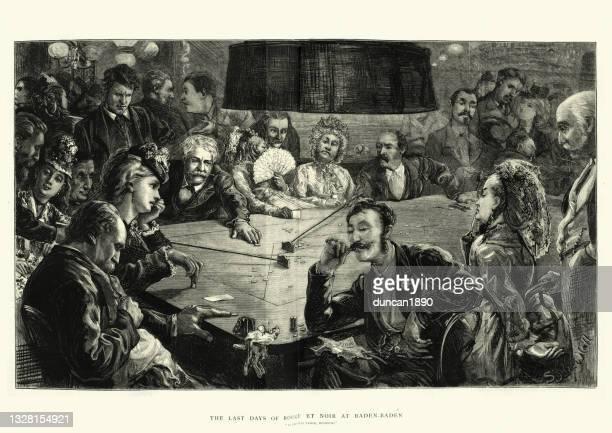 illustrations, cliparts, dessins animés et icônes de les gens qui jouent au casino, rouge et noir, jeu de cartes de jeu, 19ème siècle victorien - baden baden