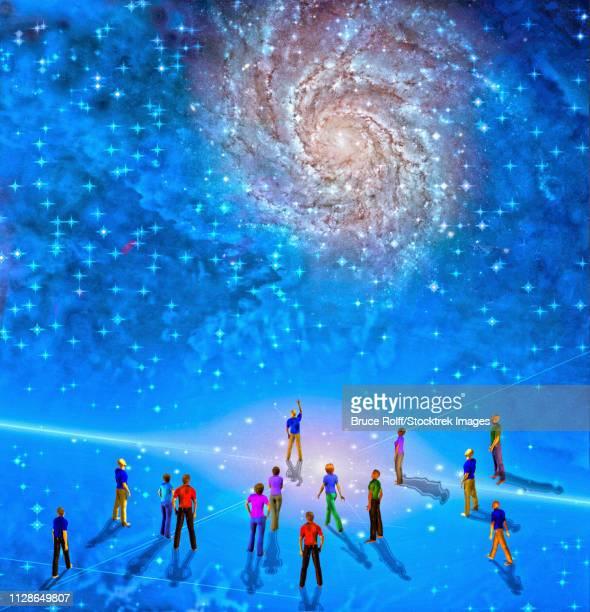 ilustraciones, imágenes clip art, dibujos animados e iconos de stock de people gather in mystery sci-fi like scene - galaxia espiral