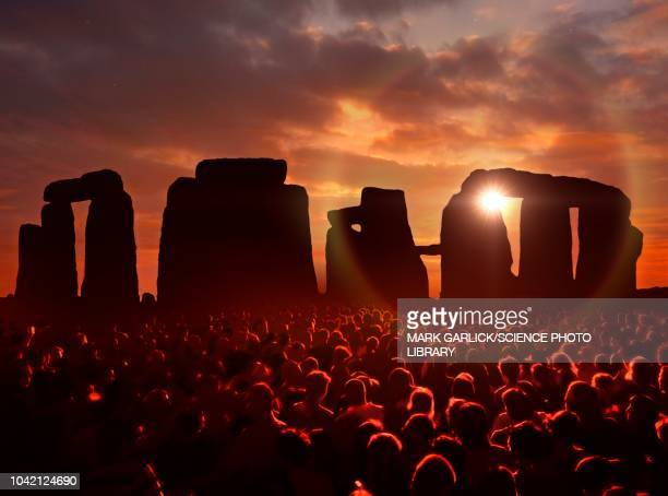 people gathered at stonehenge, illustration - large group of people stock illustrations