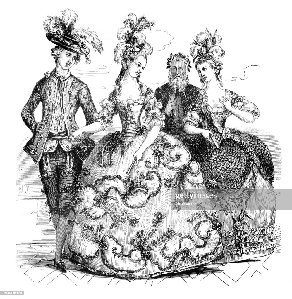 People going to opera in traditional costumes Marie Antoinette 1785 : Stock Illustration