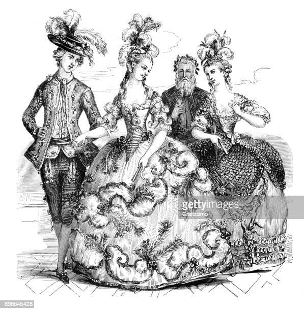 People going to opera in traditional costumes Marie Antoinette 1785