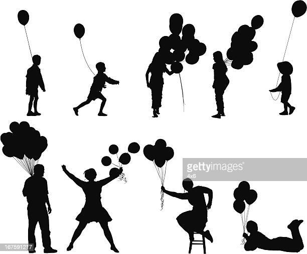 people holding balloons - holding stock illustrations, clip art, cartoons, & icons