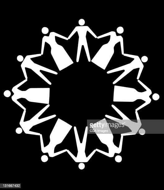people holding hands in circle - large group of people stock illustrations