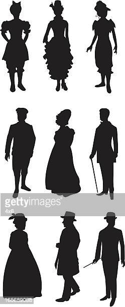 people in 19th century style dress - en búsqueda stock illustrations