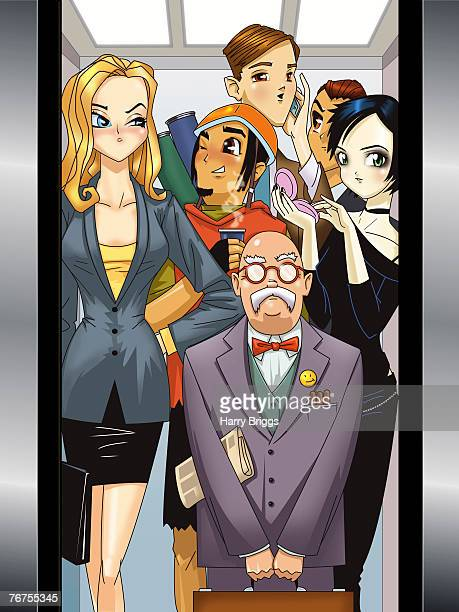 people in an elevator - goth stock illustrations, clip art, cartoons, & icons