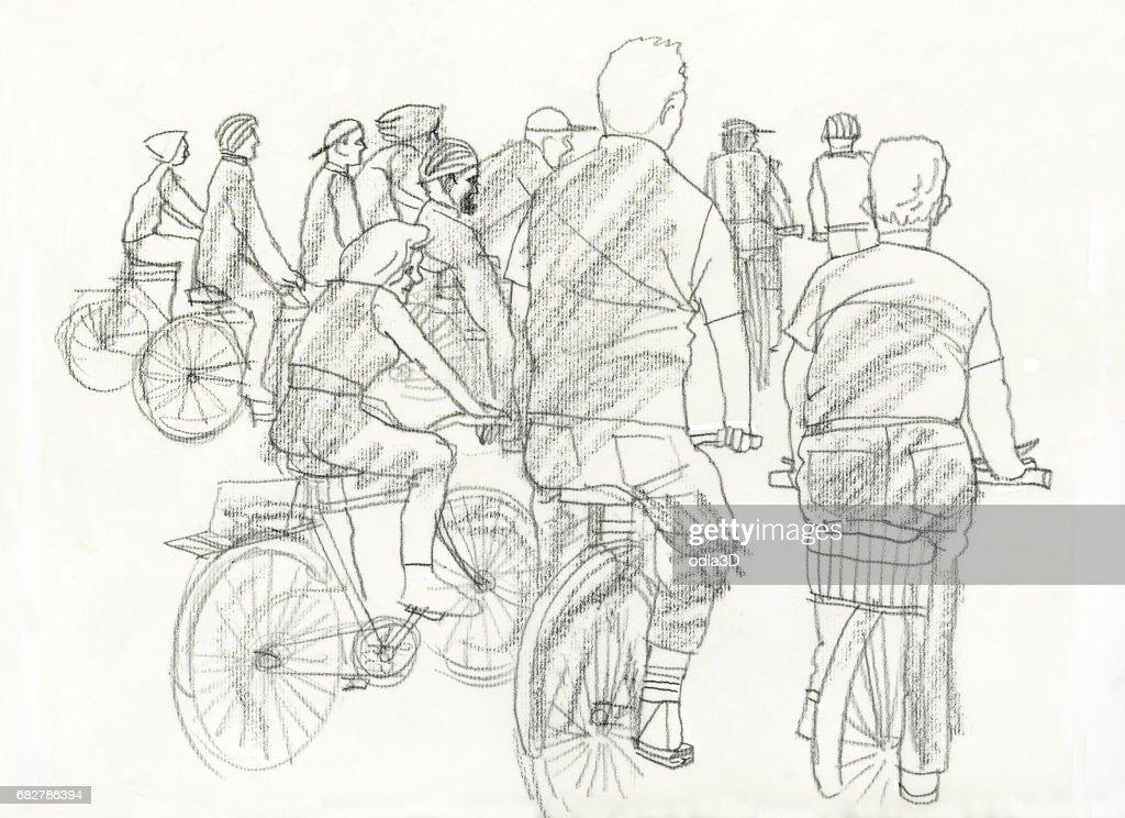 People in bikes : Stock Illustration