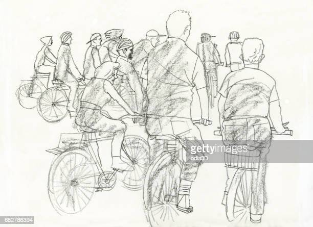 people in bikes - bicicleta stock illustrations