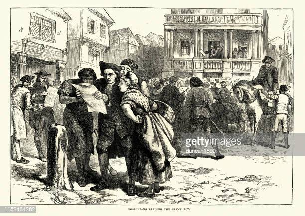 people in boston reading about the stamp tax, 18th century - boston massachusetts stock illustrations