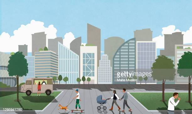 people in city park - leisure activity stock illustrations
