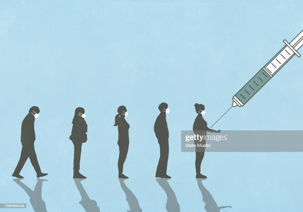 People in face masks waiting in line for vaccination : stock illustration