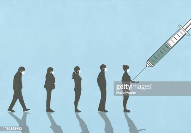 people in face masks waiting in line for vaccination - in a row stock illustrations