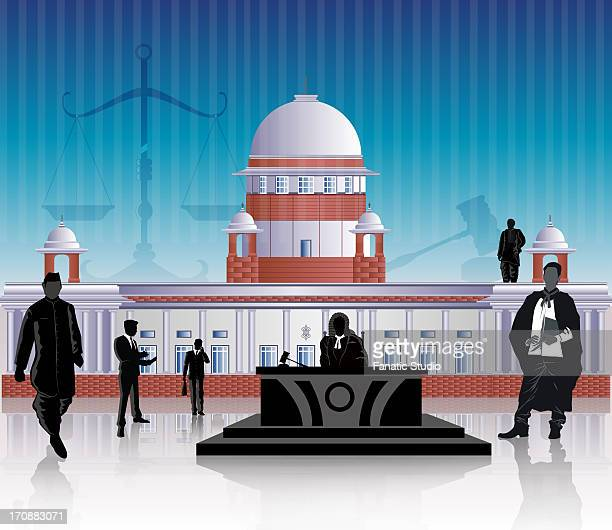 people in front of a courthouse, supreme court, new delhi, india - india politics stock illustrations