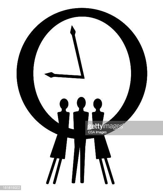 people in front of clock - deadline stock illustrations