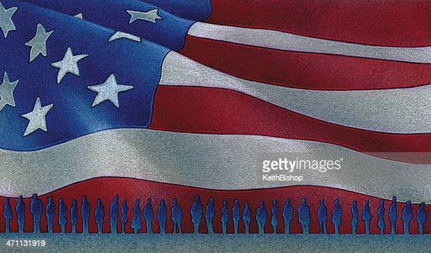People in Line with American Flag Background