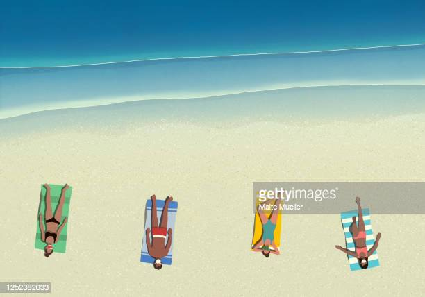 people in protective face masks sunbathing and social distancing on sunny beach - outdoors stock illustrations