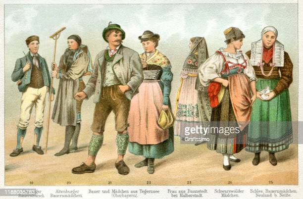 people in traditional clothing germany 1897 - 1900 1909 stock illustrations