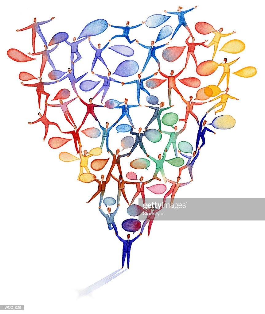 People joined in pattern, each with word bubbles : Stock Illustration