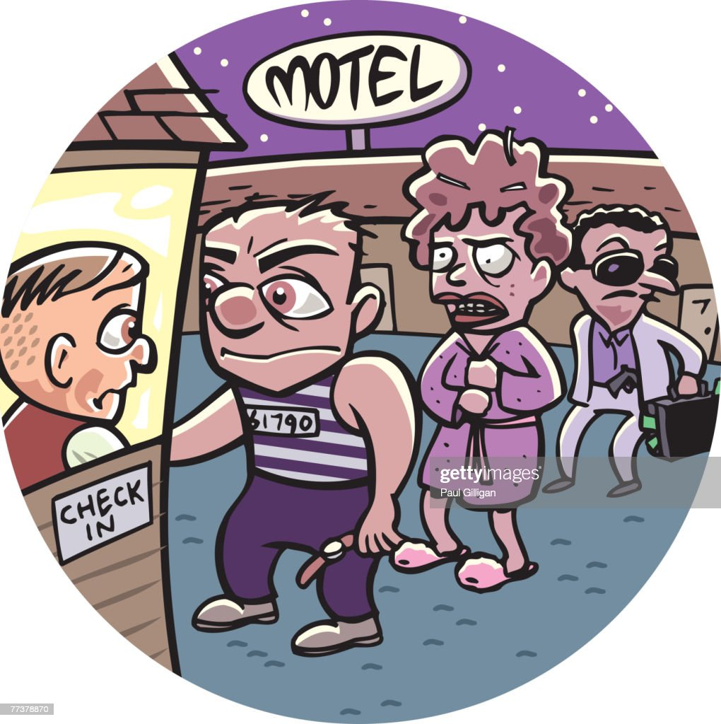 People lining up to check into a motel : Illustration