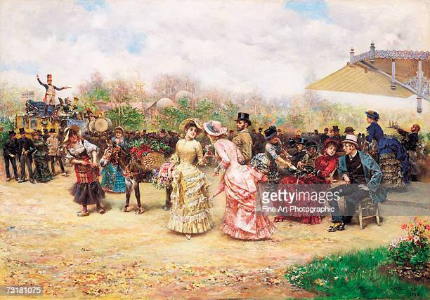 People meeting at a rural outdoor cafe circa 1870 Original artist Ludovico Marchetti