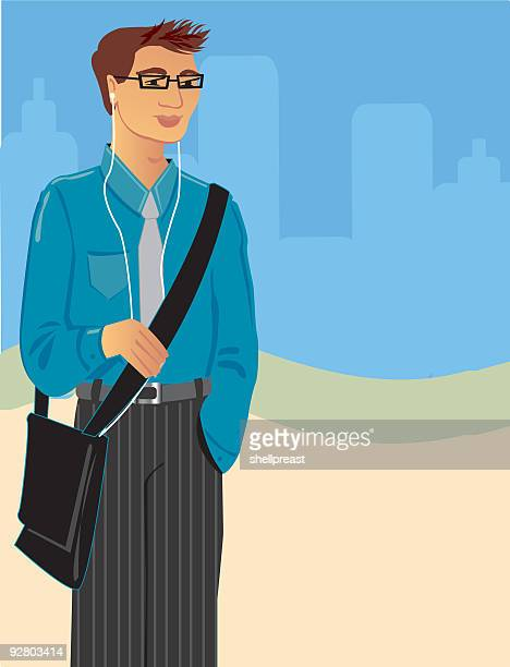 people - men 2 - messenger bag stock illustrations, clip art, cartoons, & icons