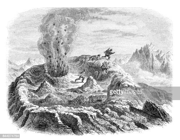 people near eruption of gas at volcan antuco chile 1858 - volcano stock illustrations, clip art, cartoons, & icons