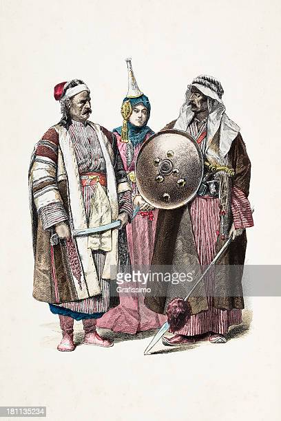 People of Damascus Syria Baghdad with different costumes 1870