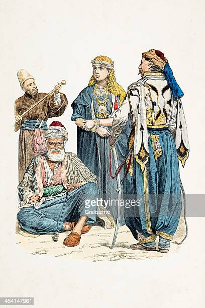 People of Damascus Syria in traditional clothing 1870